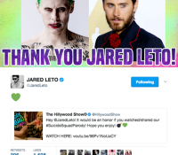 JARED LETO SHARES #SUICIDESQUADPARODY!  SEE HIS TWEET!